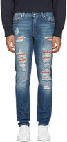 Alexander McQueen Blue Distressed Jeans