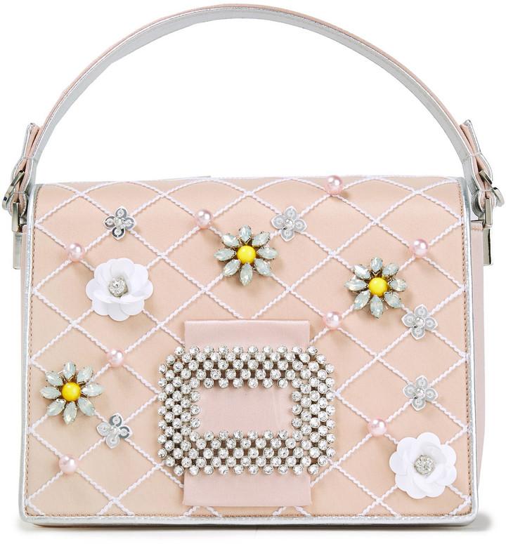 Roger Vivier Madame Diadem Embellished Satin Shoulder Bag