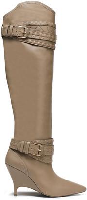 Zimmermann Embellished Snake-effect Leather Knee Boots