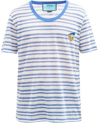 Gucci X Disney Donald Duck Striped Linen T-shirt - Blue White