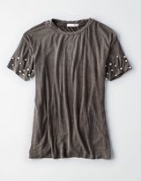American Eagle Outfitters Don't Ask Why Faux Pearl T-Shirt