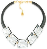 Trina Turk Crystal Clear Leather Necklace
