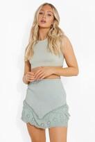 Thumbnail for your product : boohoo Shirred Frill Lace Hem Mini Skirt