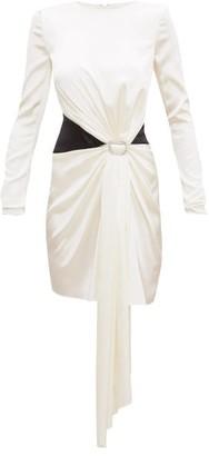 Alexandre Vauthier Crystal-buckle Draped Silk-blend Satin Mini Dress - Ivory