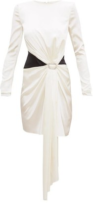 Alexandre Vauthier Crystal-buckle Draped Silk-blend Satin Mini Dress - Womens - Ivory