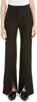 Loewe Front Slit Linen Blend Flare Pants