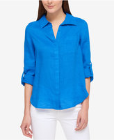 Tommy Hilfiger Linen Roll-Tab-Sleeve Shirt, Only at Macy's
