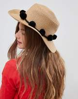 Pieces Straw Hat With Pompoms