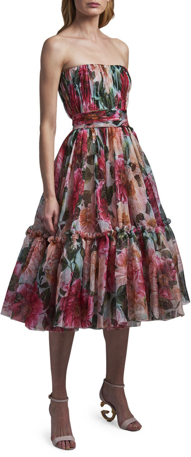 Thumbnail for your product : Dolce & Gabbana Strapless Ruched Midi Dress