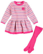 Petit Lem Baby Girls Pretty Lace Two-Piece Dress and Tights Set
