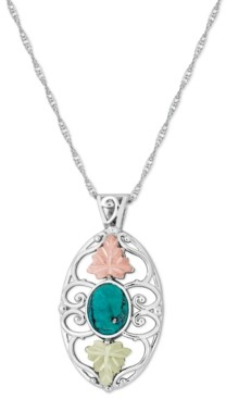 "Black Hills Gold Turquoise Pendant 18"" Necklace in Sterling Silver with 12K Rose and Green Gold"
