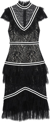 Alice + Olivia Annetta Tiered Lace Midi Dress
