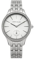 Karen Millen Women's Quartz Watch with White Dial Analogue Display and Silver Stainless Steel Bracelet