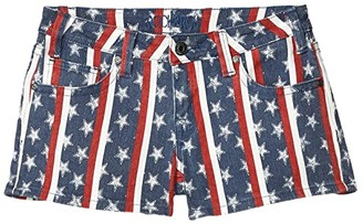 Rock and Roll Cowgirl Low Rise Shorts Printed Stars Stripes in Light Navy 68-5308 (Light Navy) Women's Shorts
