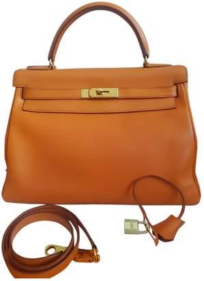 Hermes Kelly 32 Orange Leather Handbags