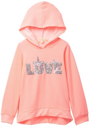 Btween Banded High/Low Sequin Hooded Pullover (Big Girls)