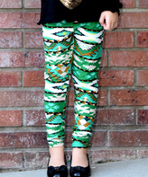 Beary Basics Green Geometric Leggings - Toddler & Girls