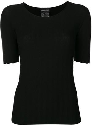 Giorgio Armani Herringbone-Texture Knitted Top
