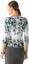 White House Black Market Floral V-Neck Cardi
