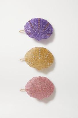 Valet Studio Kiki Set Of Three Crystal-embellished Glittered Resin Hair Clips - Pink