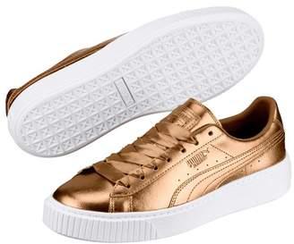 Puma Basket Platform Luxe Metallic Leather Sneaker