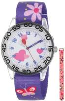 Red Balloon Kids' W001234 Interchangeable Strap Red Balloon Plastic Printed Stretch Nylon Watch Set