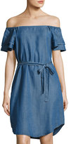 Chelsea & Theodore Off-The-Shoulder Denim-Style Chambray Dress, Blue
