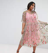 Asos Salon Embroidered Smock Longer Length Midi Dress