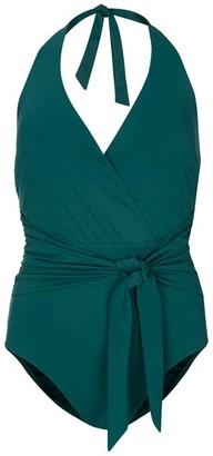 Mint Velvet Claudia Green Halter Swimsuit