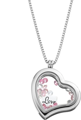 "Swarovski Blue La Rue Crystal Stainless Steel 1.2-in. Heart ""Love"" Charm Locket - Made with Crystals"