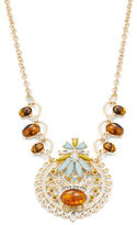 RJ Graziano Goldtone Crystal and Amber-Style Pendant Necklace