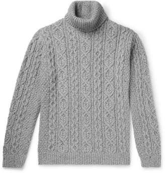 NN07 Bert Cable-Knit Melange Knitted Rollneck Sweater