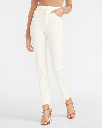 Express Super High Waisted Supersoft Off-White Slim Jeans