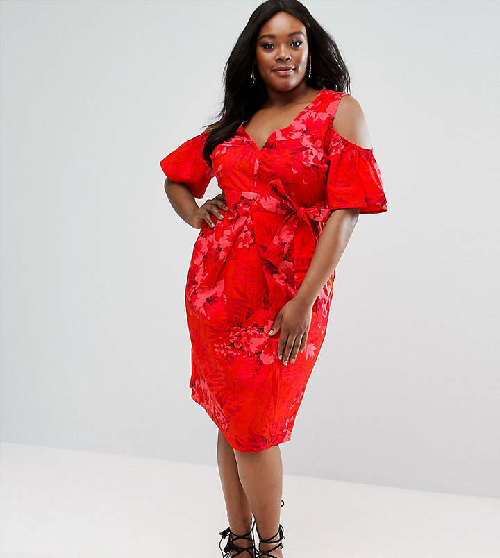 Asos Midi Dress In Tropical Print With Tie Front And Cold Shoulder