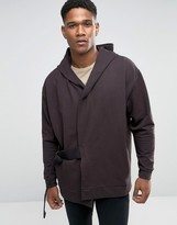 Asos Oversized Longline Hooded Cardigan In Heavy Weight Jersey