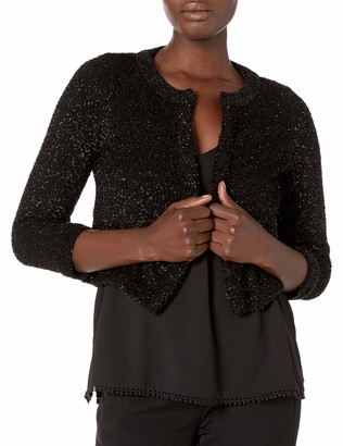 Calvin Klein Women's Open Front Metallic Knit Shrug