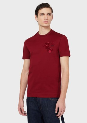 Emporio Armani Mercerised Jersey T-Shirt With Manga Bear Patch