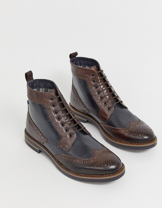 Base London Banner brogue boot in two tone brown and navy