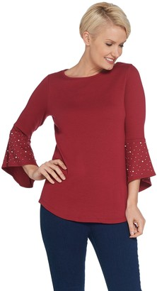 Quacker Factory Bell Sleeve Knit Tunic with Faux Pearl Detail