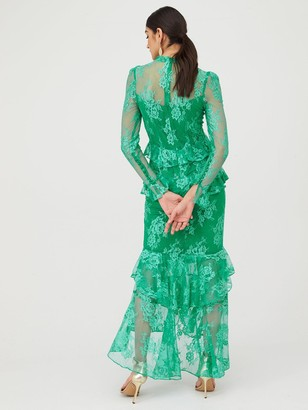 Very Lace Ruffle Front Maxi Dress - Green