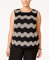 Kasper Plus Size Lace Chevron-Pattern Shell