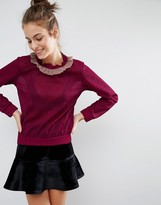 Sister Jane Ruffle Sparkle Skinny Sweater