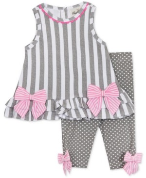 Rare Editions Baby Girls Striped Tunic & Dot-Print Leggings Set