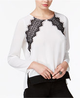 Bar III High-Low Lace-Detail Top, Only at Macy's