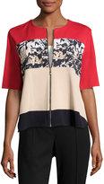 Ming Wang Zip-Front Short-Sleeve Knit Jacket, Multi