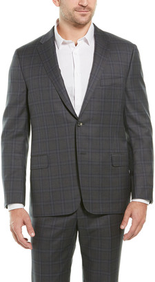 Hickey Freeman 2Pc Beacon Wool Suit With Flat Pant