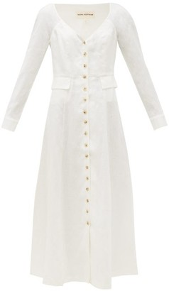 Mara Hoffman Silvana V-neck Hemp Midi Dress - Womens - White