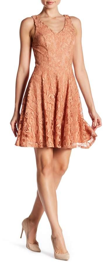 Soprano V-Neck Lace Skater Dress