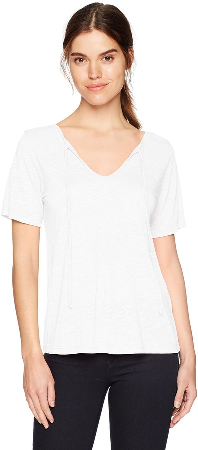 Michael Stars Women's Brooklyn Jersey Front to Back Short Sleeve top with tie