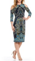 London Times Cold-Shoulder Printed Scuba Sheath Dress